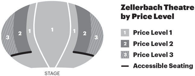 Zellerbach Theatre Seat Map by Price Level